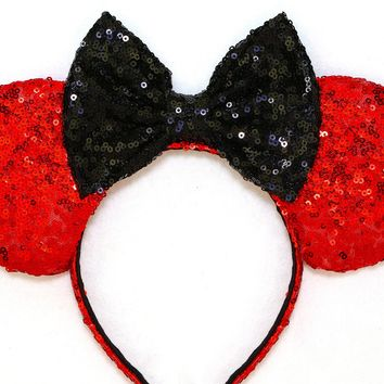Red Sequin Ears and Black Bow