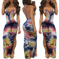 Multicolor Printted Strapy Maxi Dress with Cross Back and Side Slit