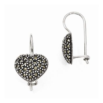 Sterling Silver Marcasite Heart Kidney Wire Earrings