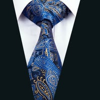 New Arrival Fashion Men`s Tie Blue Paisley Neck Tie Silk Jacquard Ties For Men Business Wedding Party