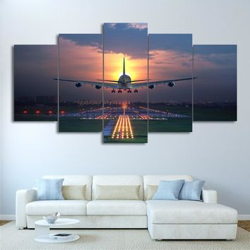 Airplane 747 Aviation Landing Sunset Airport Five Piece Canvas Wall Art