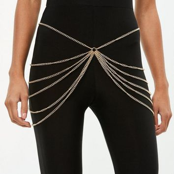 Missguided - Gold Ring Layered Chain Belt