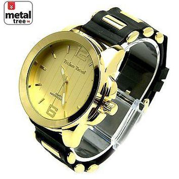 Jewelry Kay style Men's Fashion Hip Hop Bling Gold Plated Silicone Band Techno Watches 1249 GDBK