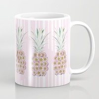 Floral Pineapple Stripes Pink Mug by Lisa Argyropoulos