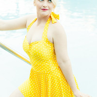 The Bella Yellow and White Polka dot Retro Swim Set one piece Maillot Swimsuit with Matching Skirt