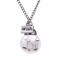 Engraved Wish Water Drop Glass Chain Cheap Necklace
