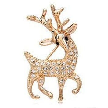 New Fashion Cute Deer Brooch for Women Party Wedding Jewelry Animal Banquet Brooches Pins Mujer Christmas Gift 5X068