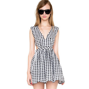 Plaid V-Neck Side Cut Out Pleated Mini Dress
