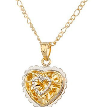 Two Year Warranty Gold Overlay 3d Heart with Cubed-back Pattern Design Pendant with Stones and an 18 Inch Figaro Necklace