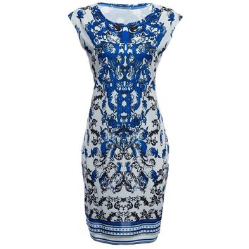 Vintage Round Collar Sleeveless Print Wrapped Hip Bodycon Knee-length Dress for Women
