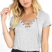 Enjoy the Ride Heather Grey Lace-Up Top