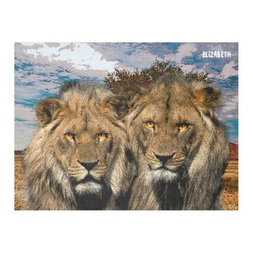 Two Wild Lions On African Savannah Background Fleece Blanket