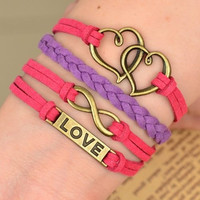 infinity heart love bracelet with soft ropes women jewelry bracelet bangle friendship gift  A03