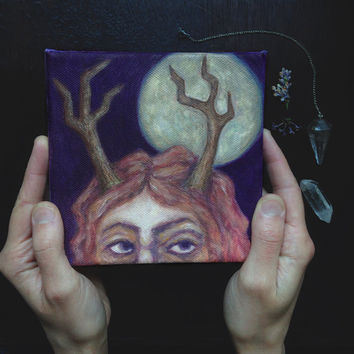 hunter's moon • original painting - witch art - gouache painting - antlers painting - small painting on canvas - pagan art - wild woman