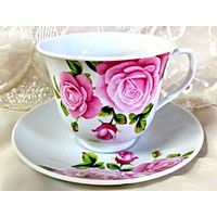 6 Pink Rose Bulk Porcelain Inexpensive Teacups (Tea Cups) & Saucers Beauty and Cheaper Price!