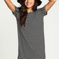 Black Striped Tee Dress