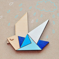 Wood Laser cut Brooch Blue Origami Bird