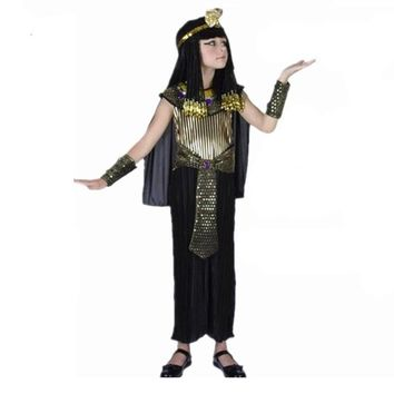 Egyptian Pharaoh Children Costumes New Cosplay masquerade Halloween childen kid Carnival costume Cleopatra royal