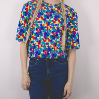 Vintage Colorful Short Sleeve Blouse
