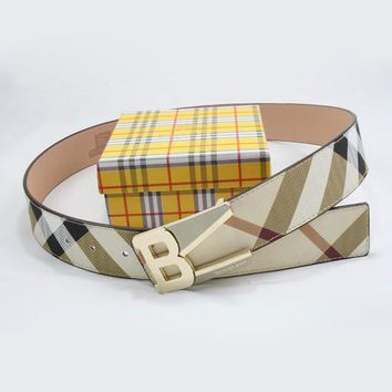 One-nice™ Perfect BURBERRY Men Woman Fashion Smooth Buckle Belt Leather Belt