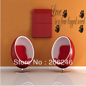 "Characters ""Love Is A Four-legged Word"" Vinyl Wall Art Decals Window Stickers Home Decor SM6"