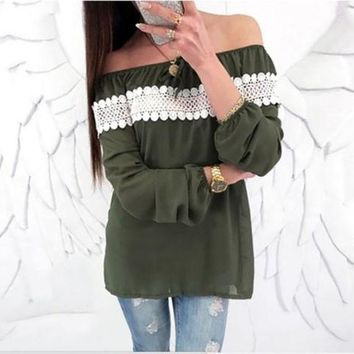 New Boho Women Casual Off Shoulder Solid Shirts Top Tees Blouse Tops Ladies Summer Chiffon Lace Patchwork Long Sleeve Blouses