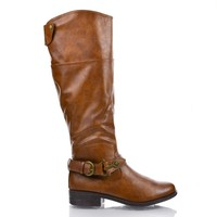 Jagger14 Chestnut By Bamboo, Round Toe Western Ankle Buckle Knee High Low Heel Riding Boots