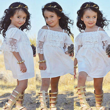 Lace Girl Clothing Princess Dress Kid Baby Party Wedding Pageant Formal Mini Cute White Dresses Clothes Baby Girls