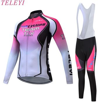 teleyi Women Cycling Jersey Set Breathable Long Sleeve Jersey Bike Pants Outdoor Sport Roupa MTB Bike Bicycle Cycling Clothing