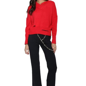 Decker Luxe Ripped Up V Neck Sweater