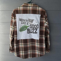 Flannel Tee Shirt, Handmade,   Nothin Like a Good Buzz, Go Fish, Unisex Shirt, Shirt for Him, Shirt for Her, Arizona Jean Company