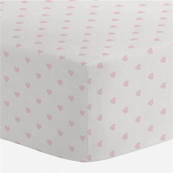 Pink Hearts Crib Sheet