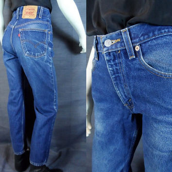 temp sale 80's LEVI'S 550 Denim Levi's Strauss Medium Wash Boyfriend Jeans Boot Cut Boho High 29 x 30 Waist Unisex Pants Distressed Washed O