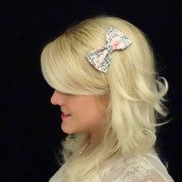 Pair of two Light grey and pink floral bow hair clips adult/kids/feminine