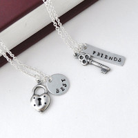 best friend necklace in silver, friendship necklace, bff, key and lock necklace, besties, couple necklace by jewelmint