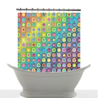 Artistic Shower Curtain - Summertime, Colorful, pattern, floral, bright, decor, bath, home, kids