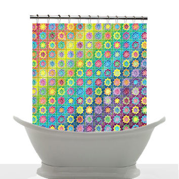 Artistic shower curtain summertime from for Bright bathroom sets