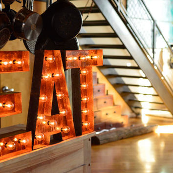eat letter eat sign cafe sign lighted metal marquee sign marquee light marquee