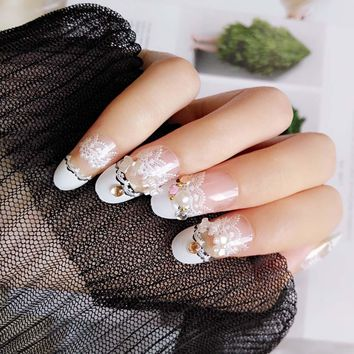 24 Pcs/Set  Wedding Bride Fake Nail 3D False Nails With Glue Transparent Lace Designed Full Wrapped Tips For Women Lady FM88