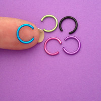 FAKE, Cartilage, Tragus, Septum, Facial Piercing Continuous Cuff, Colored Metal, 4 Cuffs