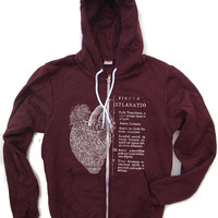 Unisex Anatomical HEART Fleece Zip Hoody - American apparel XS S M L XL