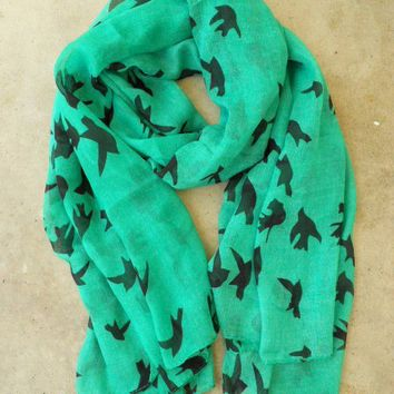Sparrows in Flight Verte Scarf