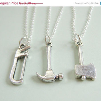 Summer Sale Save15% 3 Best Friends Construction Necklaces BFF  You Choose The Charms