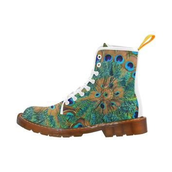 Peacock Feather Lace Up Martin Boots for Women
