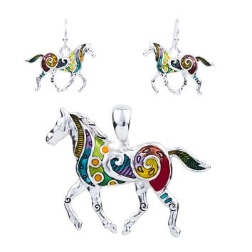 MS1504258 Fashion Horse Jewelry Sets High Quality Silver Plated Multicolor Horse Necklace Earring Set Animal Jewelry Party Gifts