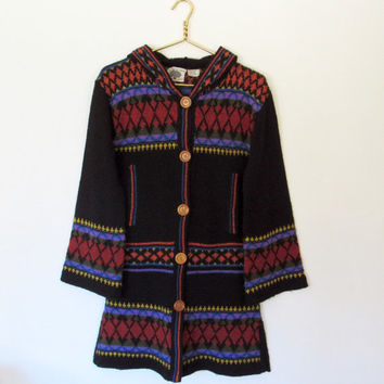 Vintage 1970s Bohemian / Hippie Organically Grown / Long Knit Cardigan Sweater w/ Hood