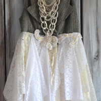 Fall vest, Lagenlook autumn tunic top, Romantic shabby cottage chic clothing, Country chic, Bohemian gypsy cowgirl glam, True rebel clothing