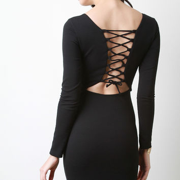 Lace-Up Corset Back Bodycon Dress