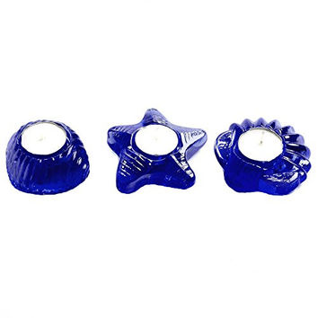 Sea Glass Starfish and Seashell Tea Light Candle Holder Set of 3 (Cobalt)