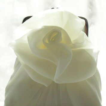 Ivory Chiffon Rose Purse - Size Small - Ready To Ship